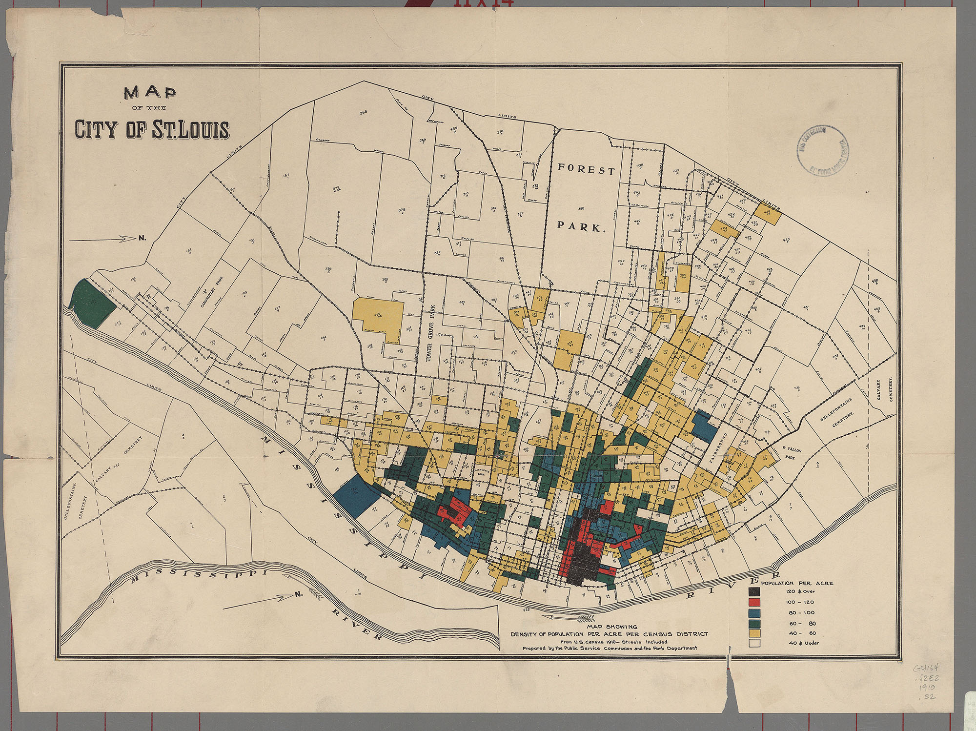 Description Map Showing Density Of Population Per Acre Per Census District From U S Census 1910 Streets Included